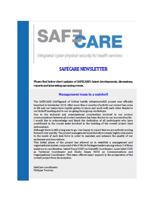 SAFECARE Newsletter 1